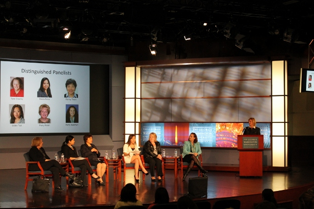 Stacie Berdan and 6 Panelists at GWU-CIBER event (640x427)
