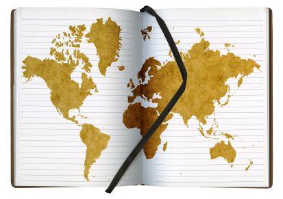 Notebook with the world